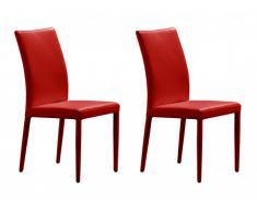 Lot de 2 chaises ATALANTE - Cuir de vachette - Rouge