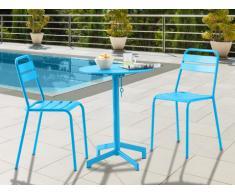 Salle à manger de jardin LUXEMBOURG : une petite table et 2 chaises - Turquoise