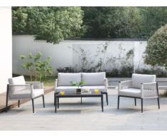 Salon de jardin FUTUNA en aluminium et cordes : un canapé 2 places, 2 fauteuils et une table basse