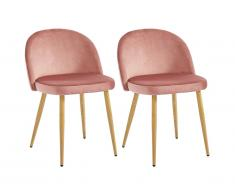 Lot de 2 chaises LILLY - Velours - Terracotta
