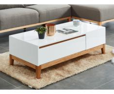 Table basse SEDNA - 1 tiroir - Chêne massif & MDF laqué blanc