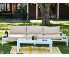 Salon de jardin SERAM en aluminium blanc et coussins beige: un canapé 3 places et une table basse relevable