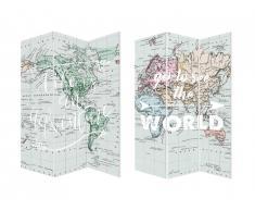 Paravent imprimé map monde 3 pans WORLD - bois de pin - H. 180cm - multicolore