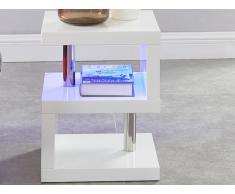 Chevet LYLIA - MDF laqué blanc - Avec LEDs - Blanc
