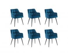 Lot de 6 chaises PEGA - Avec accoudoirs - Velours et métal - Bleu