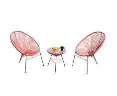 Salon de jardin ALIOS II en fils de résine tressés - Corail: une table et 2 chaises
