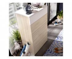 Chiffonnier ODET - 5 tiroirs - Blanc et chêne