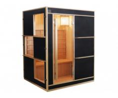 Sauna Traditionnel Finlandais 3/4 places LAHTI - L150*P130*H190 cm - Noir
