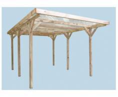 Carport ATLAS en bois traité classe III - surface 15,56m² - toit en PVC