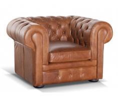Fauteuil Chesterfield 100% cuir LONDRES - Cuir vintage caramel
