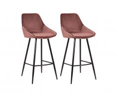 Lot de 2 tabourets de bar MASURIE - Velours - Terracotta