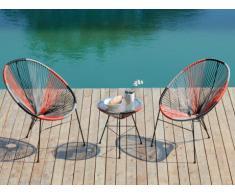 Salon de jardin ALIOS II en fils de résine tressés - Noir, orange, gris: une table et 2 chaises