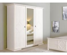 Armoire avec miroir BLANKA - L175cm - 3 portes - Finition chêne blanchi