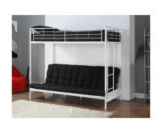 Pack MODULO IV - Lit mezzanine blanc 90x190cm et son futon noir 135x190cm