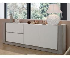 Buffet MICHIGAN - 2 portes & 2 tiroirs - Blanc & Chêne