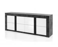 Buffet ESSIA - 4 portes - Aspect ardoise et blanc laqué