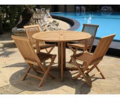 Salle à manger de jardin BYBLOS - Teck: 1 table D.120cm et 4 chaises pliantes