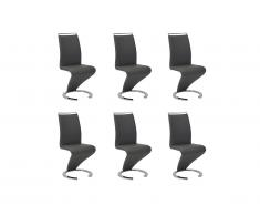 Lot de 6 chaises TWIZY - Simili noir
