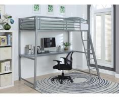 SOLDES - Lit mezzanine MALICIO - couchage 90x190cm - bureau intégré - coloris argent