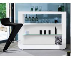 Meuble de bar DESPINA - LEDs - MDF laqué Blanc