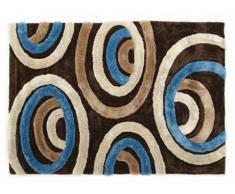Tapis shaggy SHIMODA bleu et chocolat - polyester - 140*200cm