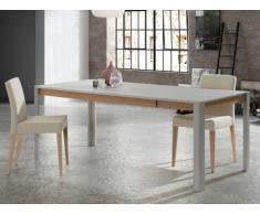 Table à manger extensible LEANDRE - 6 à 8 couverts - MDF laqué - Coloris : Gris & Chêne