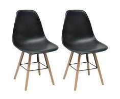 Lot de 2 chaises ALTA - Polypropylène et Bois - Noir