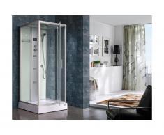 Cabine de douche hydromassante ANJA - 30 microjets de massage - Radio - L90xP90xH215 cm - Pluie tropicale et douchette