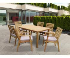 Salle à manger de jardin AZZAO en bois d'eucalyptus: une table + 6 fauteuils - assise taupe