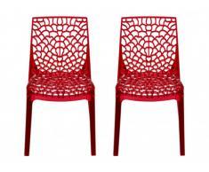 Lot de 2 chaises empilables DIADEME - Polycarbonate plein - Rouge
