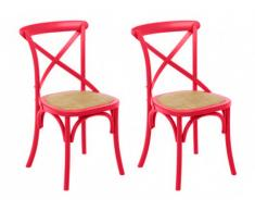 Lot de 2 chaises TARIK - Bois & assise en rotin - Fuchsia