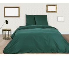 Parure de lit BEAUREGARD en satin - housse de couette 220x240cm + 2 taies d'oreiller 65x65 cm - Vert