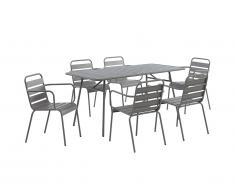 Salle à manger de jardin MIRMANDE en métal: une table L.160 cm avec 2 fauteuils empilables et 4 chaises empilables - Gris