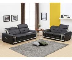 Canapé 3+2 places en cuir MAYA noir et liseré gris