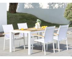 Salle à manger de jardin VAIAKU en aluminium et en acacia : une table L160cm et 4 fauteuils empilables - Blanc