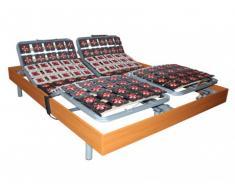 Sommier électrique de relaxation 2x65 plots déco bois merisier de DREAMEA - 2x80x200cm - moteurs OKIN