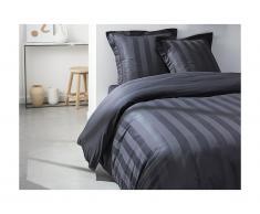 Parure de lit en percale CHAUMONT - couette 240x260cm + 2 taies 63x63cm - Taupe