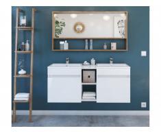Ensemble KAHI - Meuble de salle de bain double vasque - Blanc laqué