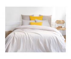 Parure de lit en gaze de coton 1 personne LEGERO - housse de couette 140 x 200 + 1 taie d'oreiller 63 x 63 cm - gris