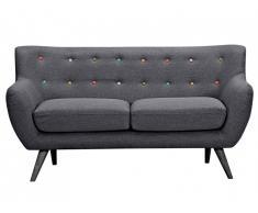 Canapé 2 places en tissu SERTI - Gris anthracite avec boutons déco multicolores