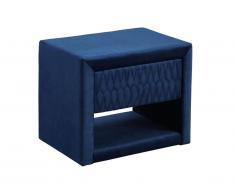 Table de chevet DANIELE - 1 tiroir et 1 niche - Tissu velours - Bleu