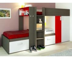 Lits superposés JULIEN - 2x90x190cm - Armoire intégrée - Taupe et rouge
