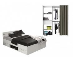 Pack CHAMBRE Rangements - Lit GASPARD et dressing KYLIAN - Gris/blanc