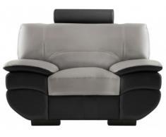 Fauteuil cuir CALIFORNIA II - Bicolore noir et gris