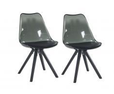 Lot de 2 chaises LOVA - Polycarbonate et Hêtre - Noir & transparent
