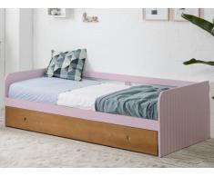 Lit gigogne banquette JULIETTE - 2x90x190cm - MDF - Rose pastel et Merisier