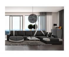 Canapé d'angle droit en simili MINTIKA - Noir et bandes blanches