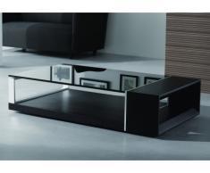 Table basse DOMI - Verre trempé et MDF placage frêne - Noir