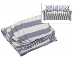 Housse de canapé 2 places en tissu CLARA - Rayé bleu et blanc