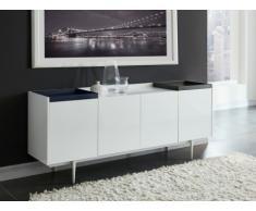Buffet SOLENIO - 4 portes & 2 plateaux - MDF laqué blanc